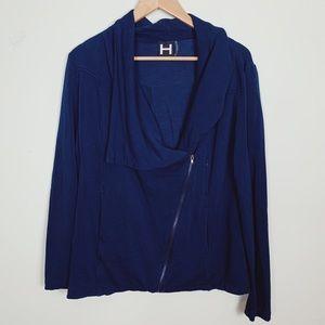 H by Bordeaux Navy Asymmetrical Zip-up Sweatshirt